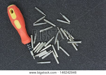 Set of little screwdrivers for precision work
