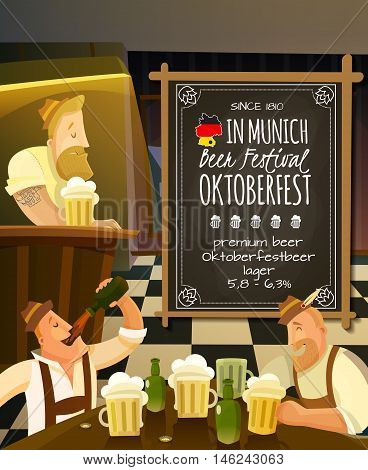 Octoberfest festival in pub cartoon background with beer and people vector illustration