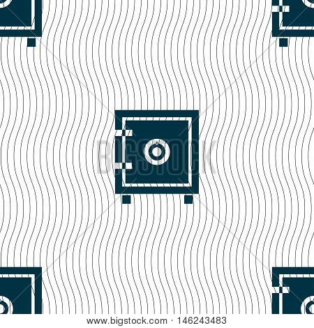 Safe Money Icon Sign. Seamless Pattern With Geometric Texture. Vector