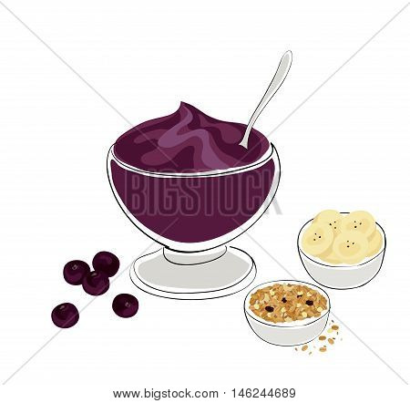 acai breakfast: illustration of an acai bowl with granola and banana