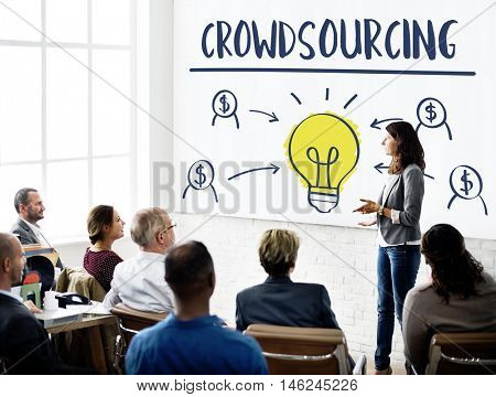 Crowd sourcing Collaboration Content Information Concept
