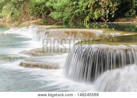 Small Water flow trough rock part of waterfall, Nakhon Nayok, Thailand