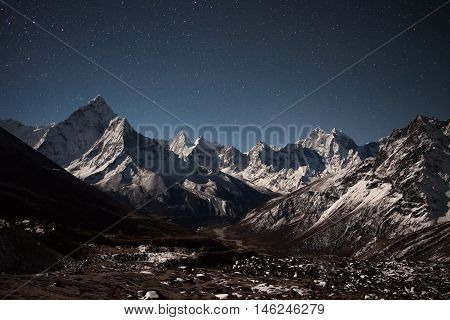 Ama Dablam Mountain Panoramic View On A Starry Night. Beautiful Night Mountain Landscape Under Brigh