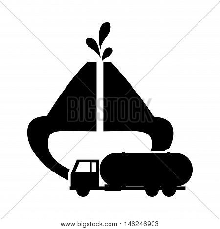 flat design oil reservoir and cistern truck icon vector illustration