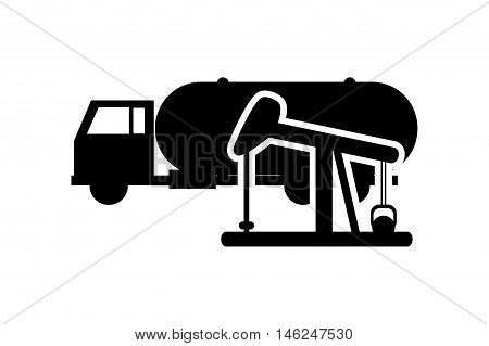 flat design cistern truck and oil rig icon vector illustration