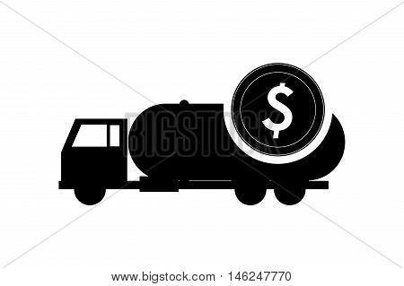 flat design cistern truck and coin icon vector illustration