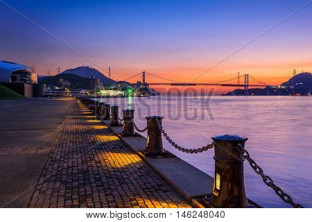 Shimonoseki, Japan waterfront at the Kanmon Straits.