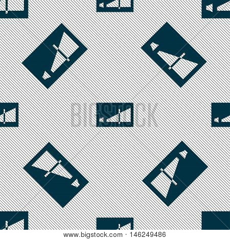Volume Adjustment Icon Sign. Seamless Pattern With Geometric Texture. Vector
