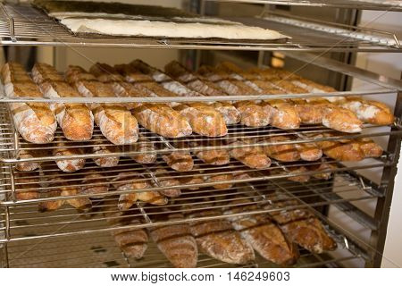 Shelves With Baked French Baguettes At Bakery Display