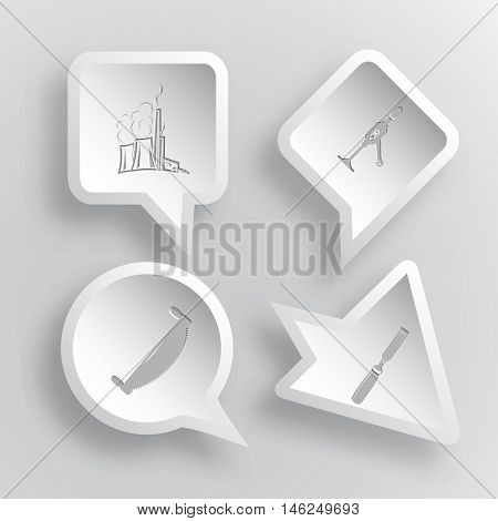 4 images: thermal power engineering, hand drill, two-handled saw, chisel. Industrial tools set. Paper stickers. Vector illustration icons.