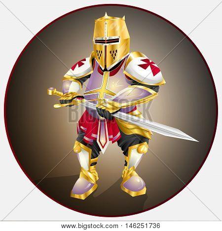 Cartoon - character , thick Templar in golden armor