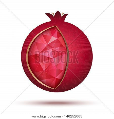 Ripe red pomegranate vector illustration. Pomegranate icon as a jewish symbol of sweet life.