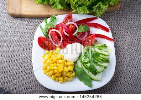 Top View Of A Healthy Dish Made From Natural Vegetables