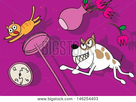 cat and dog pet fight vector illustration