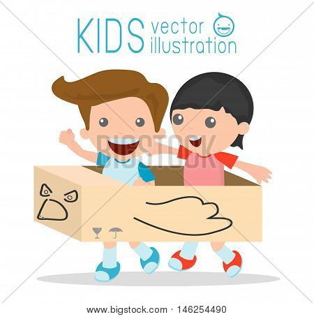 Little boy in a cardboard airplane, Creative kids plays with his cardboard airplane on white background, kids playing, happy child, Vector Illustration