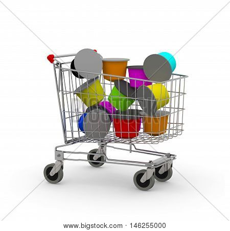 shopping cart full of coffee capsule 3d illustration