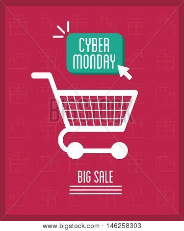 Shopping cart icon. Cyber Monday ecommerce and market theme. Vector illustration