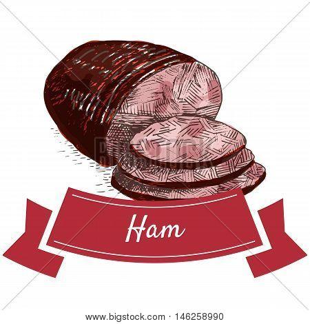 Ham colorful illustration. Vector illustration of ham.