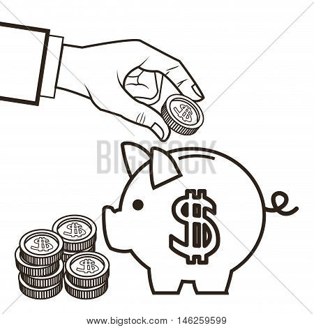 Piggy and coins icon. Money economy commerce and market theme. Isolated black and white design. Vector illustration