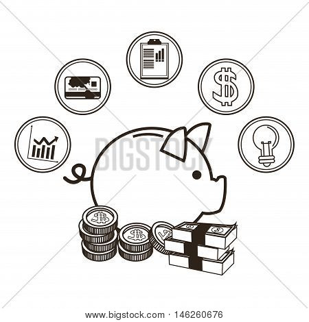 Piggy bills and coins icon set. Money economy commerce and market theme. Isolated black and white design. Vector illustration
