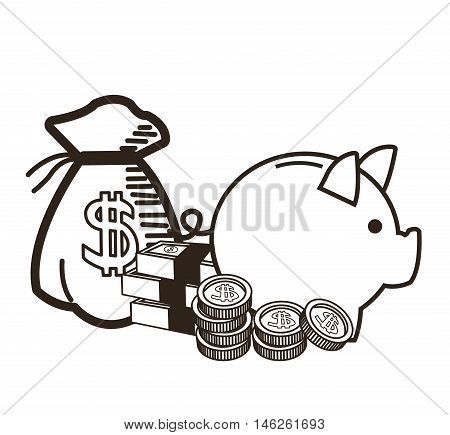 Piggy bag bills and coins icon. Money economy commerce and market theme. Isolated black and white design. Vector illustration