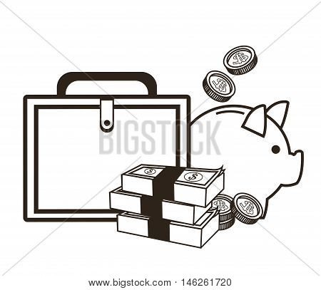 Piggy suitcase bills and coins icon. Money economy commerce and market theme. Isolated black and white design. Vector illustration