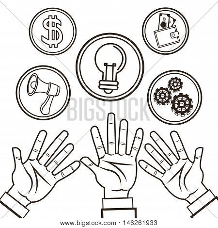 Hands bulb megaphone gears and wallet icon. Money economy commerce and market theme. Isolated black and white design. Vector illustration