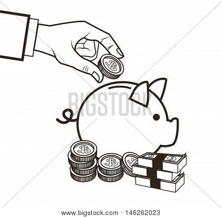 Piggy bills and coins icon. Money economy commerce and market theme. Isolated black and white design. Vector illustration