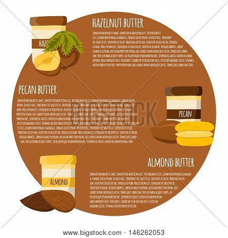 Vectot Cartoon Concept: Jars With Nuts Butter
