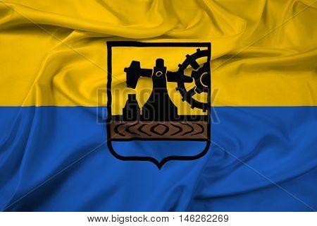 Waving Flag of Katowice Poland, with beautiful satin background