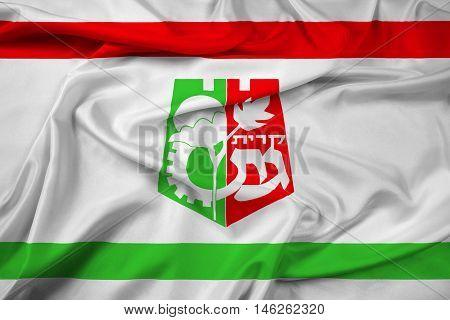 Waving Flag of Kiryat Gat Israel, with beautiful satin background