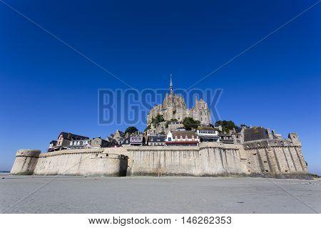 Mont St Michel France - August 16 2016: view of the famous Mont St Michel island