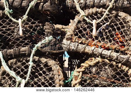Lobster traps in the harbour Port Issac Cornwall
