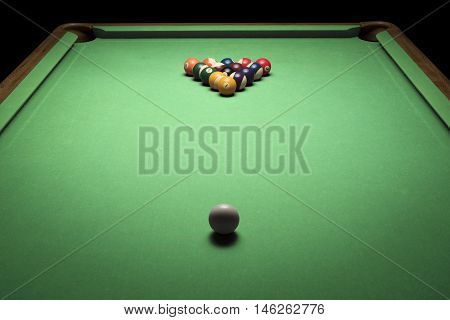 photo of green billiard table with balls