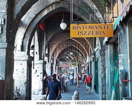 Portici Di Sottoripa, Arcade And Gallery In Via Di Sottoripa. Genova. Liguria, Italy.