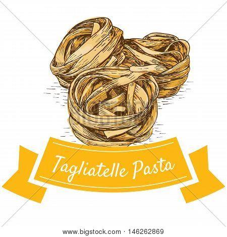 Tagliatelle pasta colorful illustration. Vector illustration of Tagliatelle pasta.