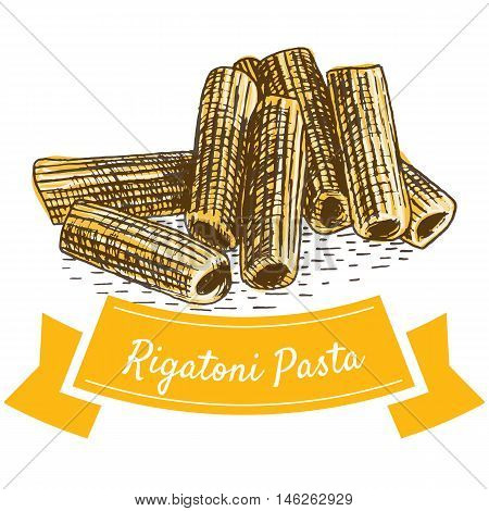 Rigatoni pasta colorful illustration. Vector illustration of Rigatoni pasta.