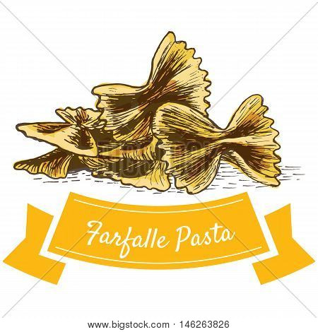 Farfalle pasta colorful illustration. Vector illustration of Farfalle pasta.