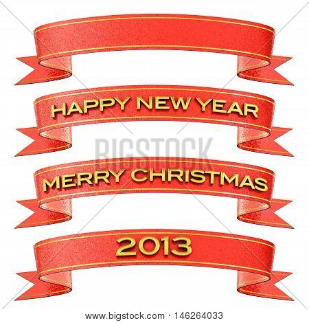 Set of red and gold ribbons isolated on white - Merry Christmas / Happy New Year / 2013 / Blank , 3d illustration