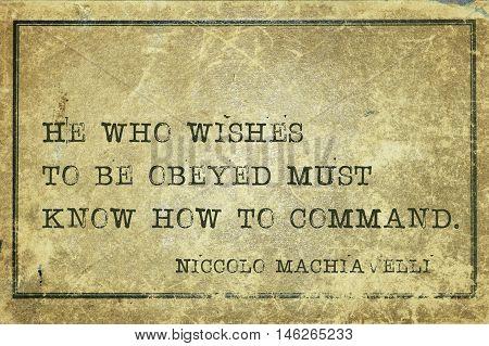 How To Command Machiavelli