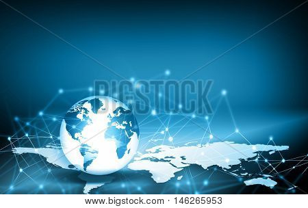 Best Internet Concept. Globe, glowing lines on technological background. Electronics, symbols Internet, television, mobile and satellite communications. Technology illustration, 3D illustration