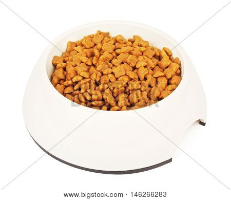 dry cat food in ceramic bowl, isolated on white background