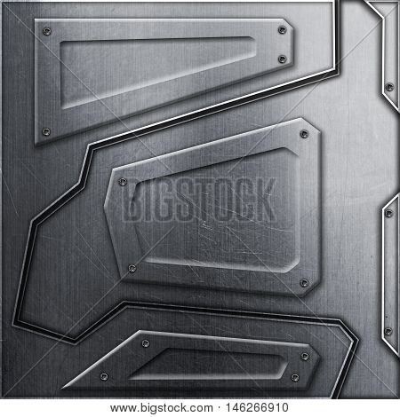 scifi wall. metal background and texture 3d illustration. technology concept.