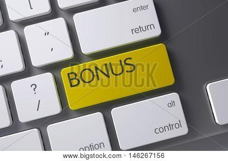 Bonus Concept Metallic Keyboard with Bonus on Yellow Enter Keypad Background, Selected Focus. 3D Illustration.
