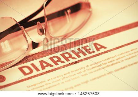 Diarrhea - Printed Diagnosis on Red Background and Spectacles Lying on It. Medicine Concept. Blurred Image. 3D Rendering.