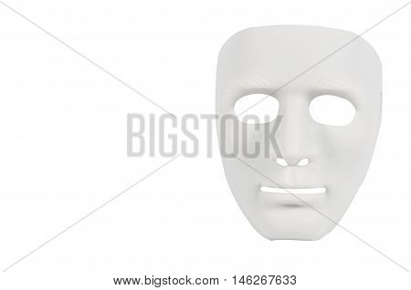 White masks like human behavior conception on white background