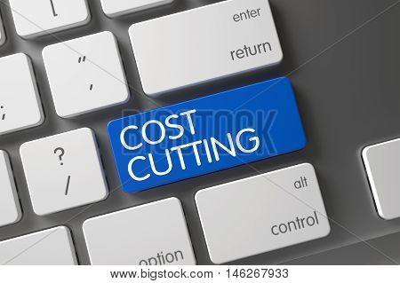 Cost Cutting Concept Laptop Keyboard with Cost Cutting on Blue Enter Button Background, Selected Focus. 3D Render.