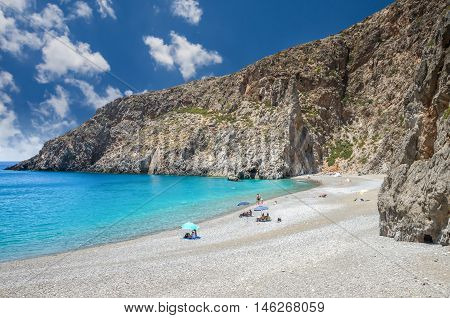 Agiofarago beach, Crete island, Greece. Agiofaraggo is one of the most beautiful beaches in Crete. It is surrounded by cliffs and rocks.