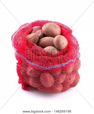 Sack of potatoes isolated on white background.