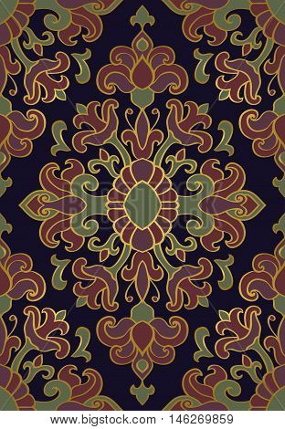 Colorful floral ornament. Template for oriental carpet textile shawl and any surface. Seamless vector pattern of gold contours on a dark blue background.